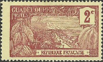 One of first known orchid stamps, 1905, Guadeloupe